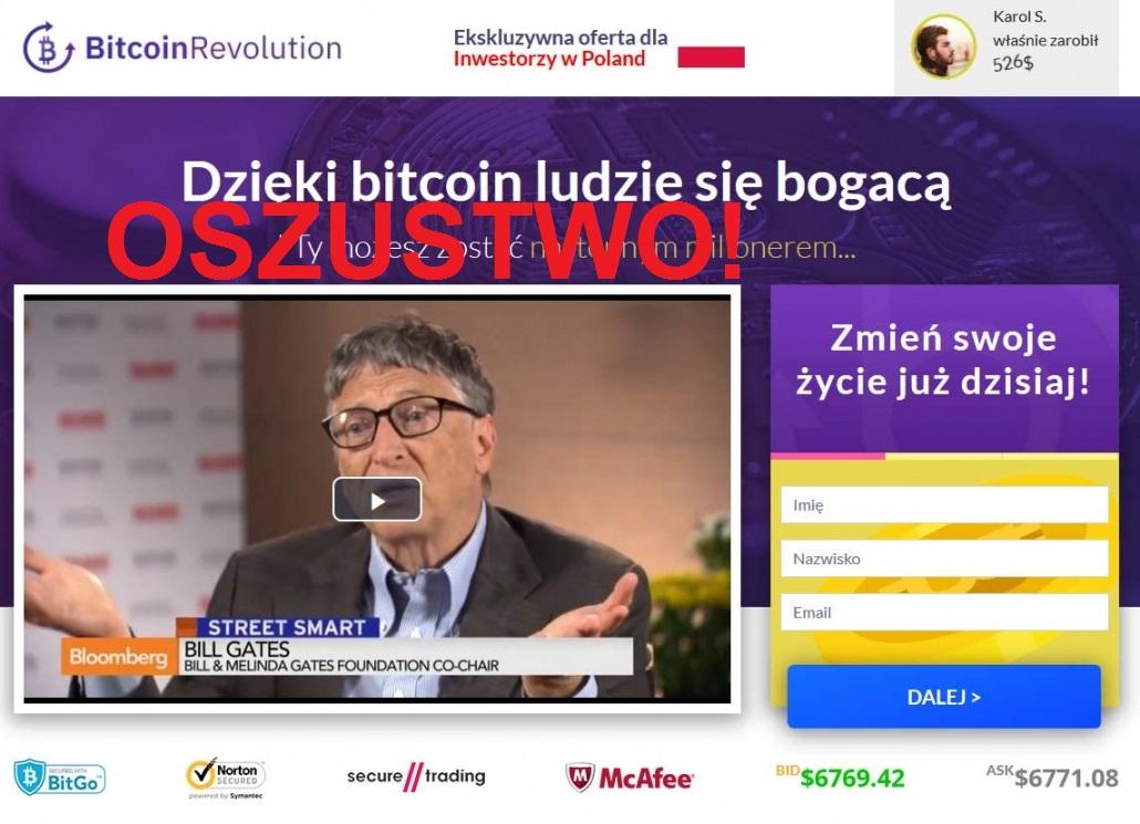 Bitcoin Revolution – nielegalnie wykorzystany wizerunek Billa Gatesa, założyciela Microsoftu