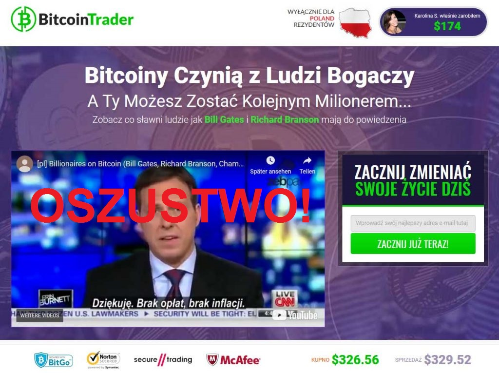 Bitcoin Trader – strona obiecuje zostanie milionerem, jednak najprawdopodobniej jedynie może doprowadzić do bankructwa
