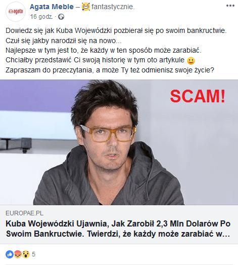 Reklama na Facebooku – naciągacze wykorzystali wizerunek Kuby Wojewódzkiego przy czym szerząc kłamstwa o rzekomym bankructwie