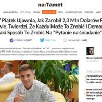 Wizerunek Krzysztofa Piątka wykorzystany na stronę podszywającą się pod portal naTemat.pl. Reklama publikuje oszukańcze treści. Krzysztof Piątek nie inwestował w BTC Profit i nie zbankrutował.