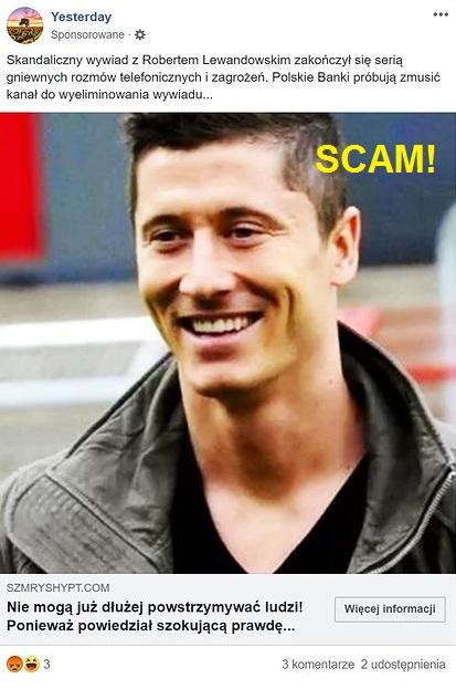 Wizerunek Roberta Lewandowskiego nielegalnie wykorzystany w reklamie oszustów w serwisie Facebook